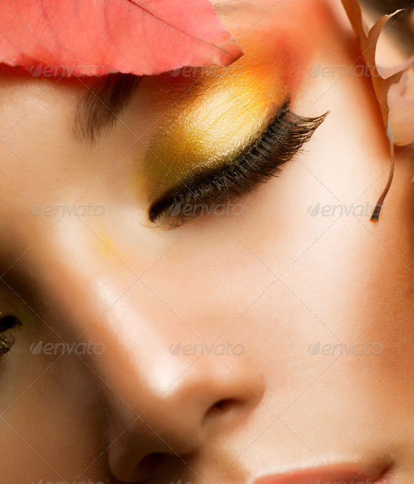 Autumn Makeup. Professional Fall Make-up Closeup - Stock Photo - Images