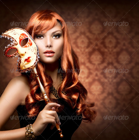 Beautiful Woman with the Carnival mask - Stock Photo - Images