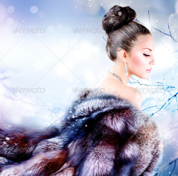 Winter Girl in Luxury Fur Coat - Stock Photo - Images