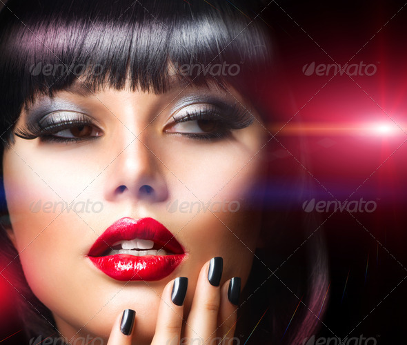 Beautiful Brunette Girl Portrait. Face. Makeup. Sensual Red Lips - Stock Photo - Images
