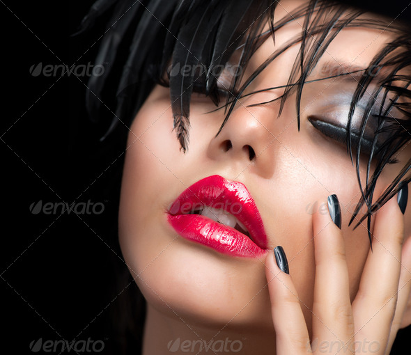 Fashion Art Girl Portrait. Vivid Makeup - Stock Photo - Images