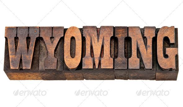 Wyoming  state name in letterpress - Stock Photo - Images