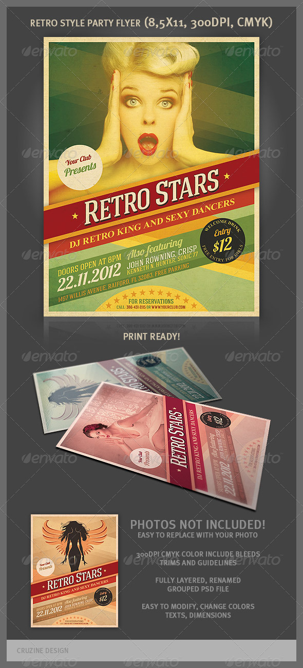 Cool Retro Party Flyer - Clubs & Parties Events