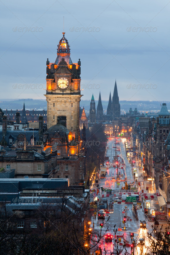 Edinburgh Clock Tower Scotland Dusk - Stock Photo - Images