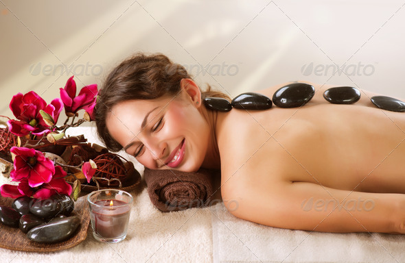 Spa. Hot Stone Massage. Dayspa - Stock Photo - Images
