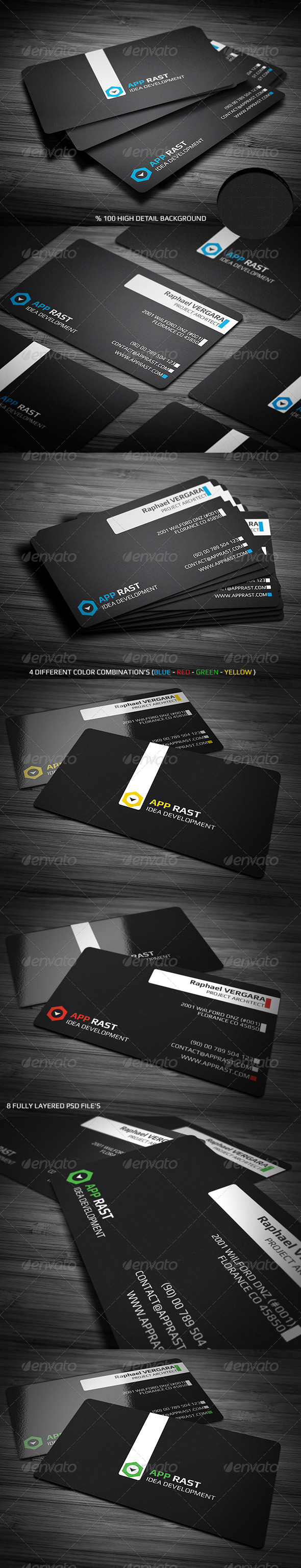 GraphicRiver Black Corporate Business Card 3323766