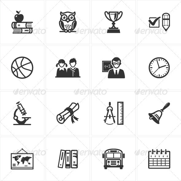 GraphicRiver School and Education Icons-Set 3 3324480
