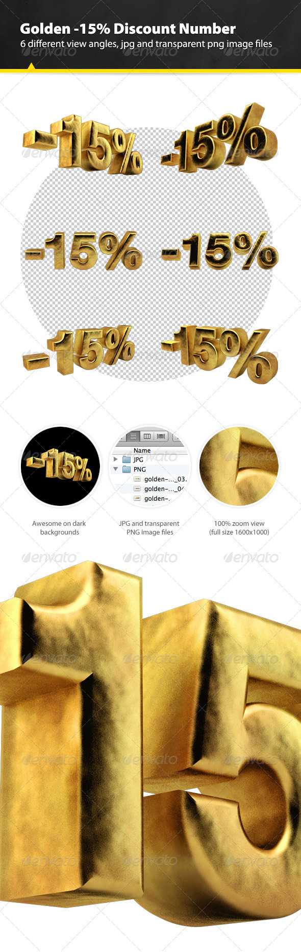 GraphicRiver Golden Fifteen Percent Discount Render 3324527