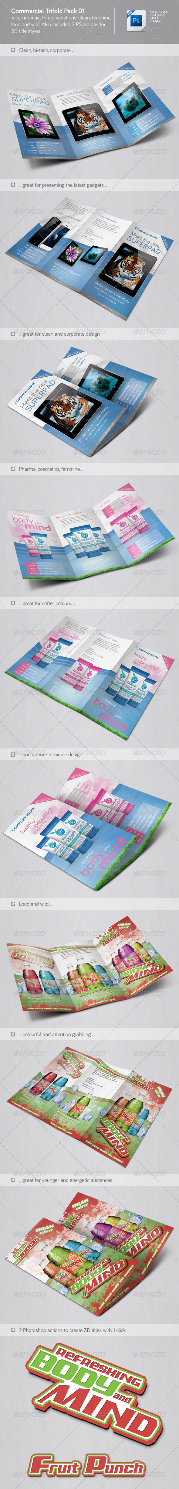 Commercial trifolds pack 01 - Brochures Print Templates