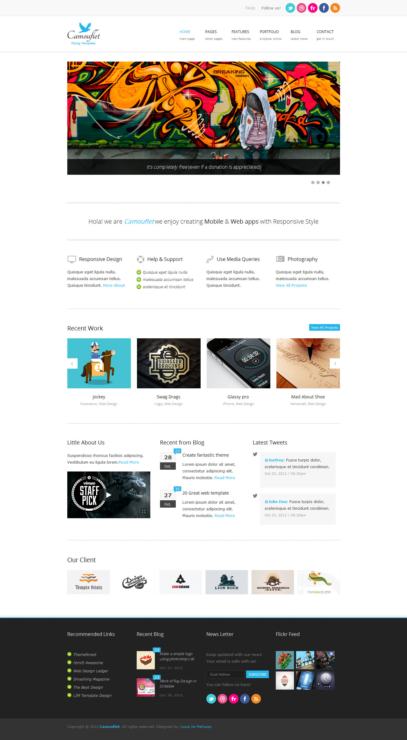 Camouflet - Responsive Portfolio &amp; Blog Template - 