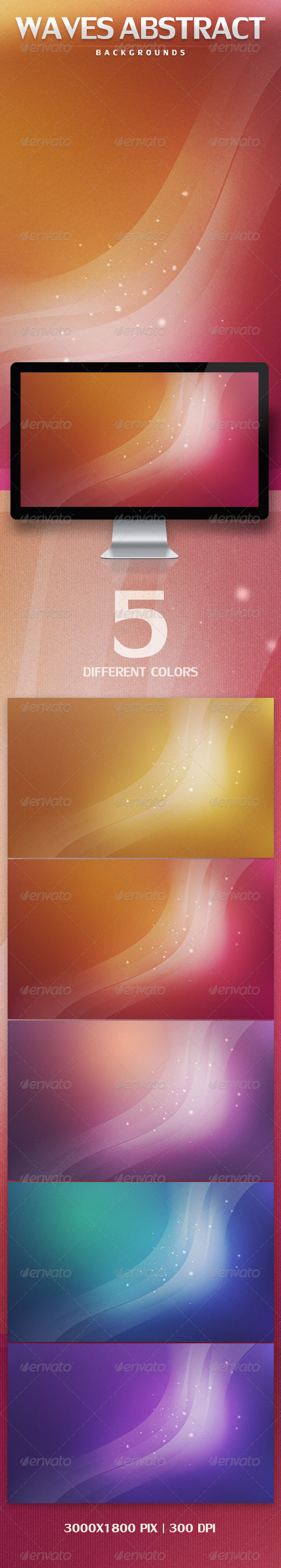 GraphicRiver Waves Abstract Backgrounds 3325686