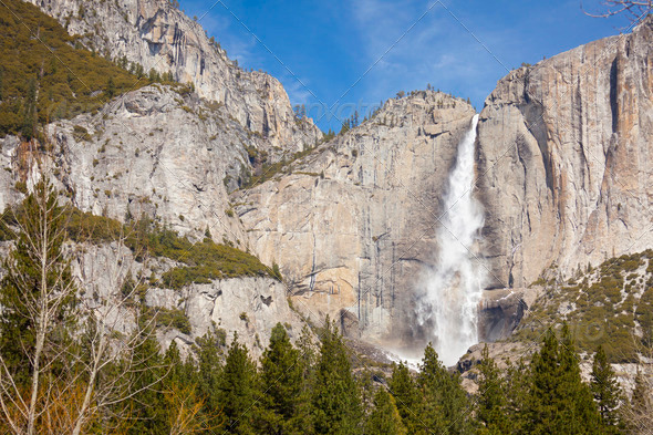 Upper Falls at Yosemite on a Spring Day. - Stock Photo - Images