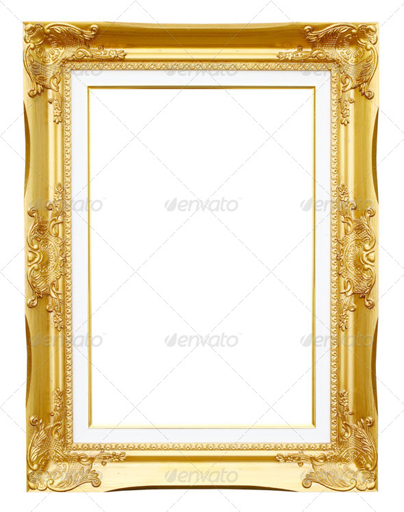 golden frame picture on white background - Stock Photo - Images