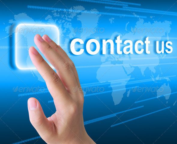 hand pushing contact us button on a touch screen interface - Stock Photo - Images