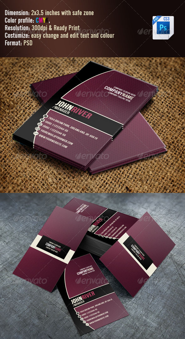 GraphicRiver Simple Violet Business Card 3325791