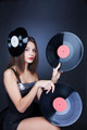 young girl with two vinyl records - PhotoDune Item for Sale