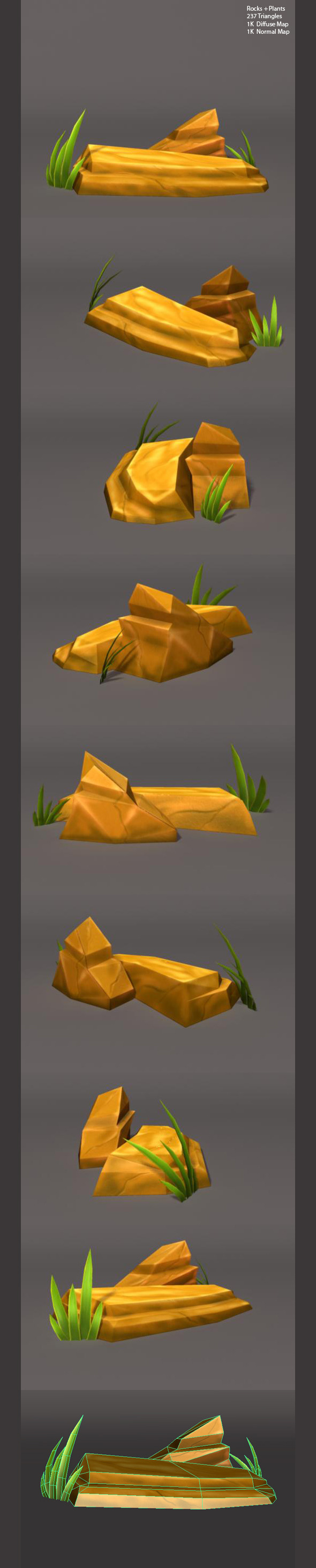 3DOcean Low Poly Rocks and Plants 3326195