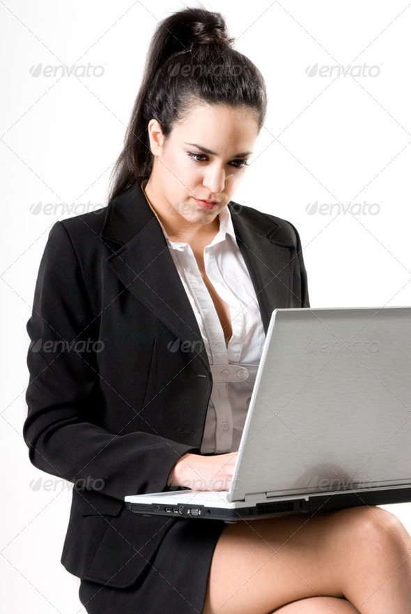 Businesswoman with laptop - Stock Photo - Images
