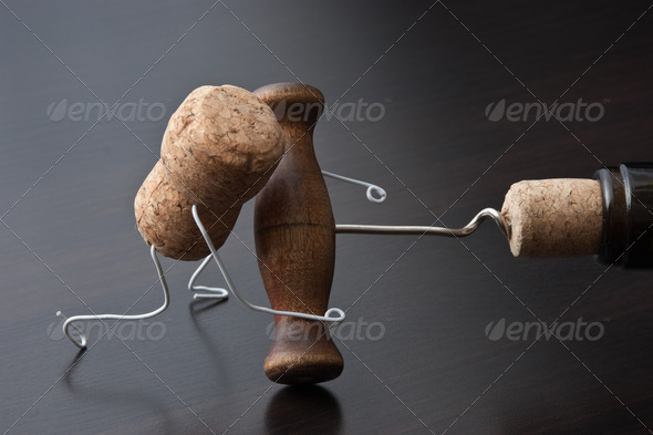 wine cork and corkscrew - Stock Photo - Images