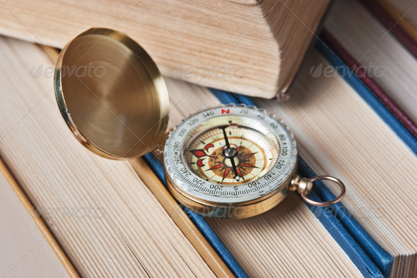 compass and old books - Stock Photo - Images
