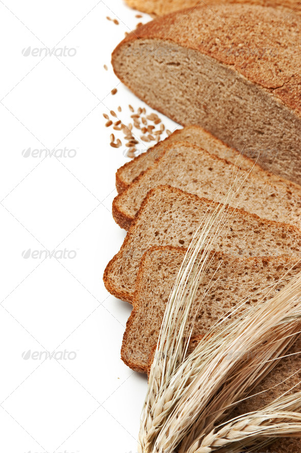 slices  bread and ears of corn - Stock Photo - Images