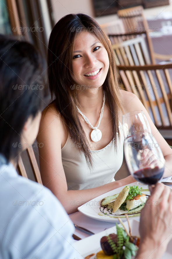 Woman At Dinner - Stock Photo - Images