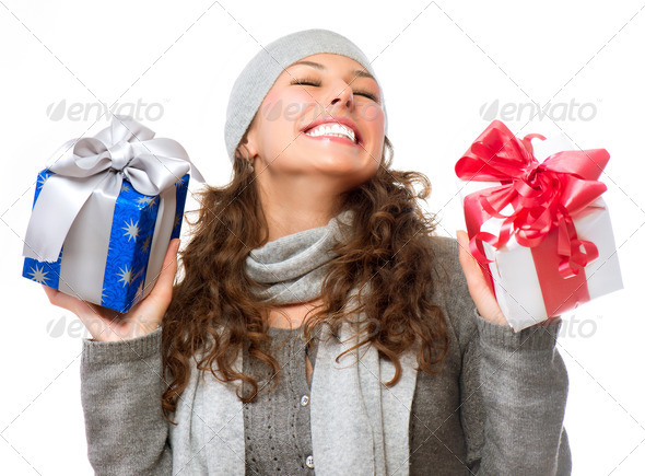 Happy Young Woman With Christmas Gifts. Gift Box - Stock Photo - Images