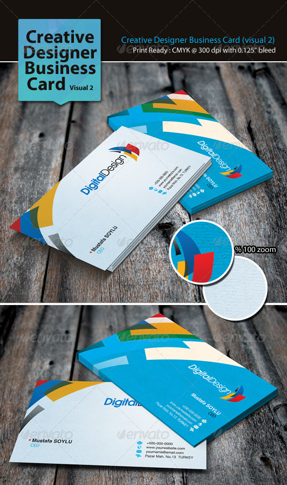GraphicRiver Creative Designer Business Card Visual 2 3309904