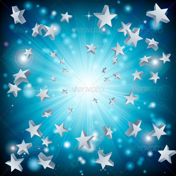GraphicRiver Blue Star Explosion Background 3305599