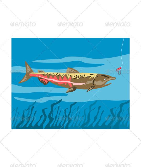 GraphicRiver Trout Fish Retro 3327126
