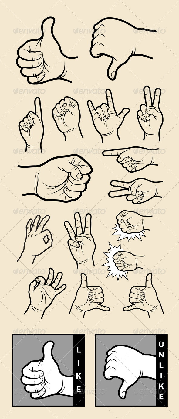 Hand Signs 1 Drawing Vector - Decorative Symbols Decorative