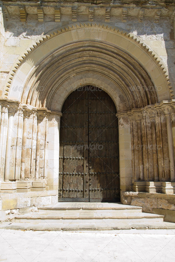 Church of San Miguel, Romanesque transition, thirteenth century. - Stock Photo - Images