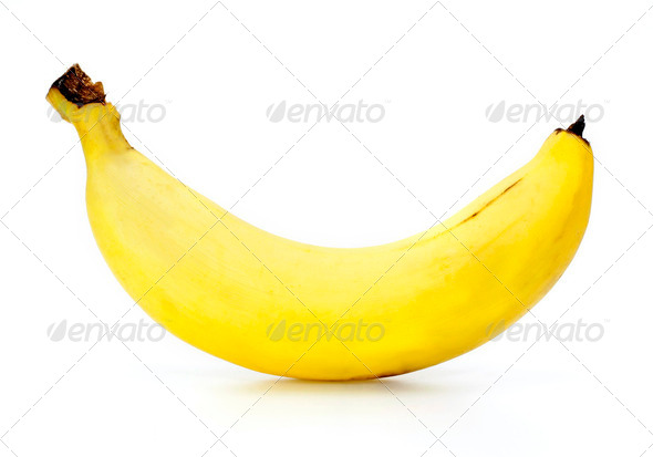 Ripe banana isolated on white background - Stock Photo - Images