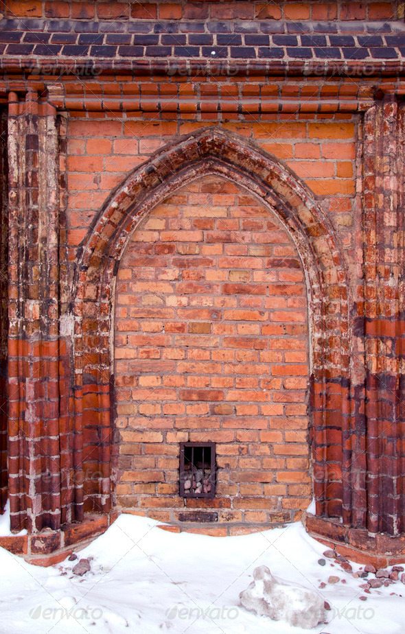 medieval church wall background - Stock Photo - Images