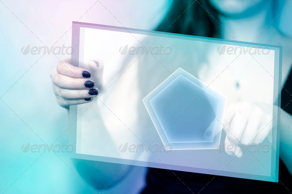 Hexagon Tablet Button - Stock Photo - Images