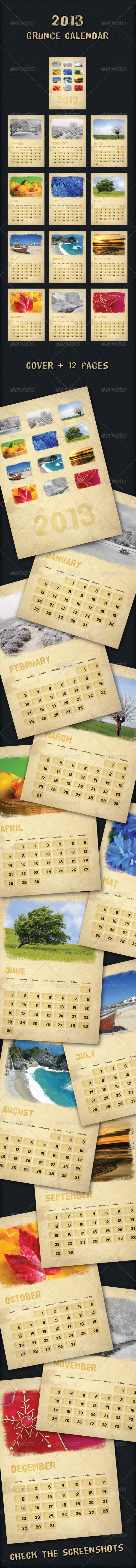 2012 Grunge Calendar - Calendars Stationery
