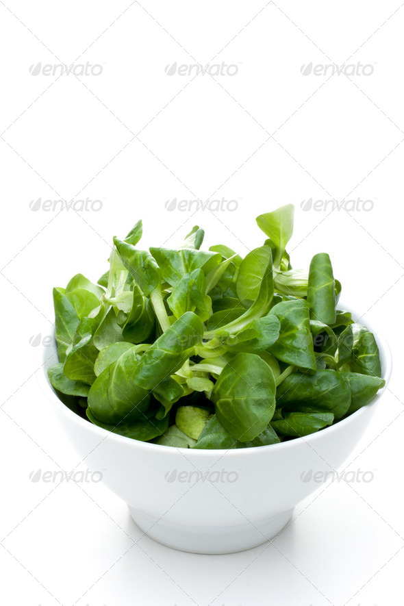 valerian leaf salad - Stock Photo - Images
