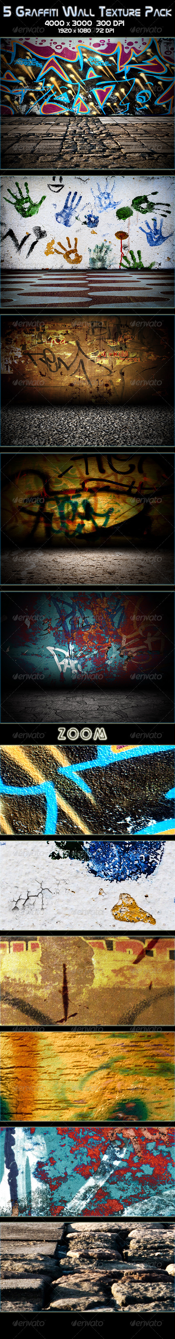 GraphicRiver 5 Graffiti Wall Texture Pack 3327643