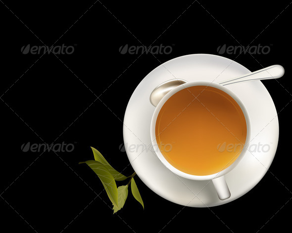 Green tea cup and spoon - Stock Photo - Images