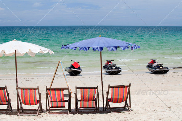 Jet Ski and deck chair for relaxing - Stock Photo - Images