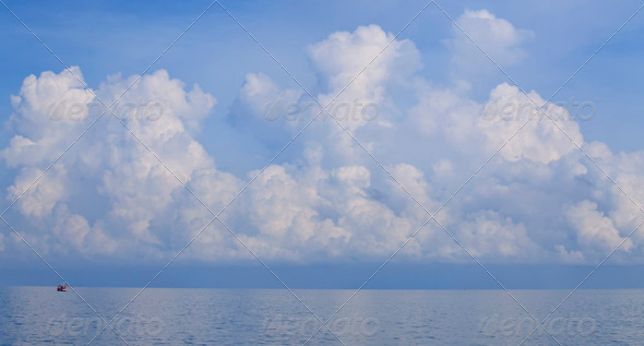 Big cloud on the ocean  - Stock Photo - Images