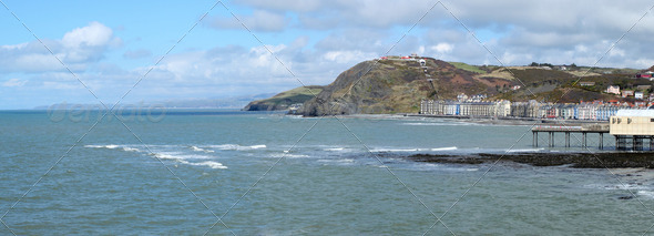 Aberystwyth seaside town panorama in Wales UK. - Stock Photo - Images