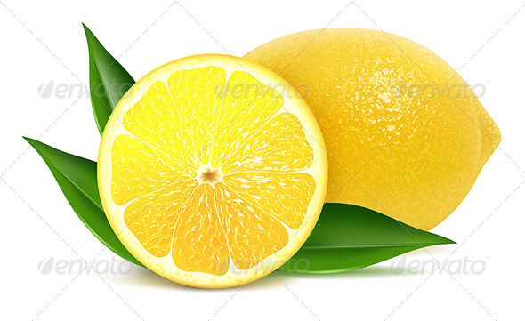 GraphicRiver Fresh lemons with leaves 3328068