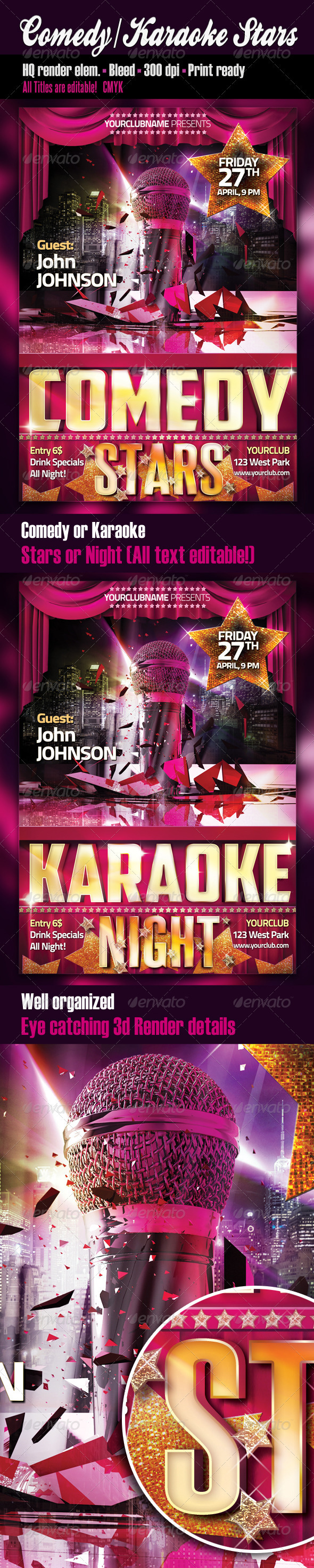Comedy Or Karaoke Stars Party Flyer - Clubs & Parties Events