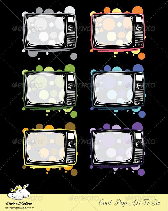 GraphicRiver Cool Vintage Pop TV Set Vector 3315247