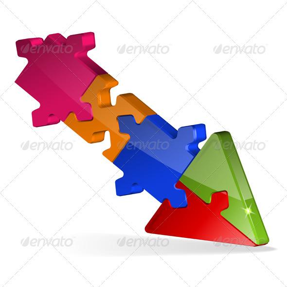 GraphicRiver 3D Puzzle Jigsaw Arrow 3329433