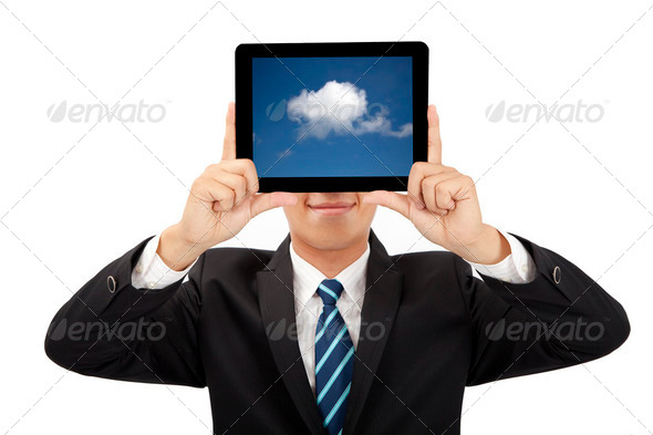 smiling businessman holding tablet pc and cloud thinking concept - Stock Photo - Images
