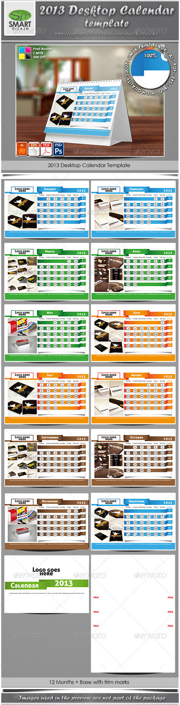 2013 Desktop Calendar Template - Calendars Stationery