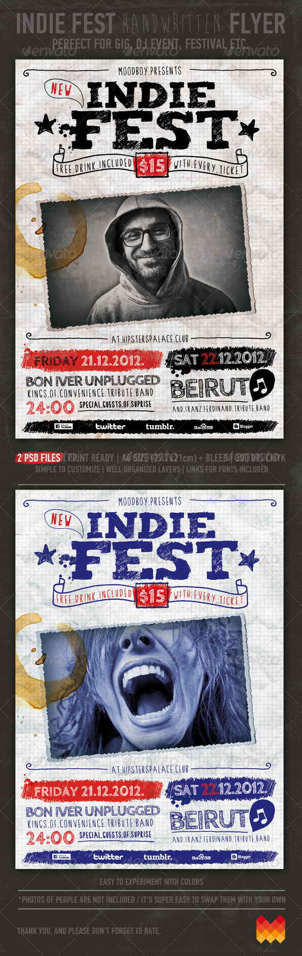 GraphicRiver Indie Fest Handwritten Flyer Poster 3330555