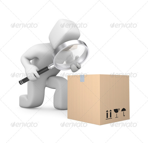 Person examines parcel - Stock Photo - Images